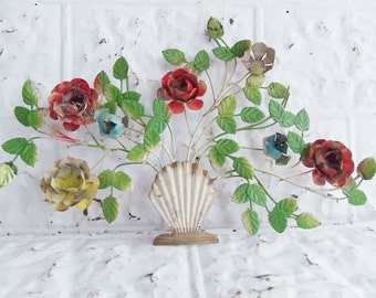 Vintage Painted Tole Toleware Wall Hanging Leaves and Flower Basket