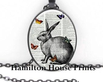 Rabbit with Butterflies Dictionary Prints Necklace Hamilton House Prints Original Print Necklace
