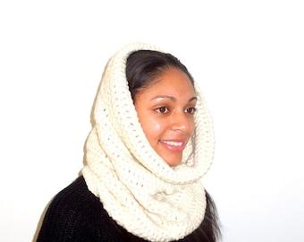 Crochet Neckwarmer,Cowl, Hooded Scarf, Women, Men, Oversized Scarf, infinity Scarf,