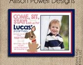 Photo Puppy-Dog-Puppy Dog Birthday Party Invitation - Custom Red and Blue Birthday Party Invitation