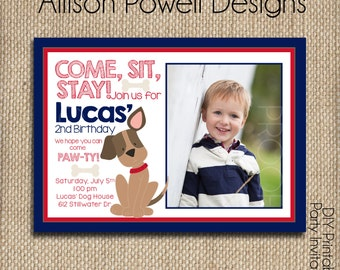 Photo Puppy-Dog-Puppy Dog Birthday Party Invitation - Custom Red and Blue Birthday Party Invitation