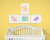 Baby Girl Dinosaur | Set of 4 | Nursery Art | Wall Art | Nursery Decor | 5x7 | 8x10 | 11x14