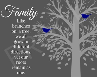 Printable Family Quote with Navy Blue Birds, Graphic Design Art, Digital Wall Art 8x10 Print, INSTANT DOWNLOAD