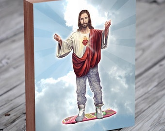 Jesus Riding a Hoverboard - Back to the future - Hoverboard Art