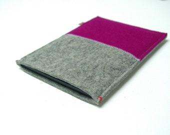 KINDLE  KOBO SLEEVE in grey + Dark Pink. For Paperwhite, Aura, Voyage, H2o. Ereader case.