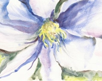 "Purple Clematis, Original Watercolor Painting 6""x9"""
