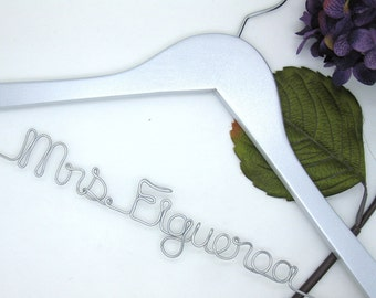 Silver Wire Wedding Dress Hanger - Custom Painted Bridal Colors, Personalized Name in Silver Wire