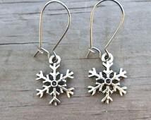 Winter Snowflake Earrings Dangling