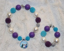 Purple, Blue & Silver, Frozen Themed, Elsa, Anna, Olaf, Chunky Bubblegum Bead Necklace and Bracelet For Children.