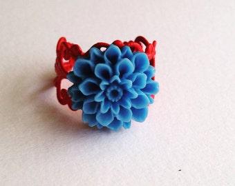 Blue Dahlia Red Adjustable Ring