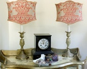 SOLD!  Pair Vintage French Brass Candlestick Lamps with Fortuny Fabric Shield Lamp Shades - EXQUISITE