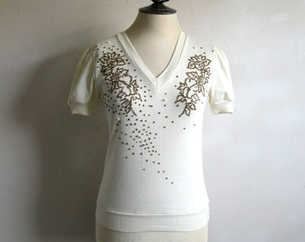 Vintage 1970s Beaded Top Cream Gold Beaded Floral Short Sleeve Summer Top Small