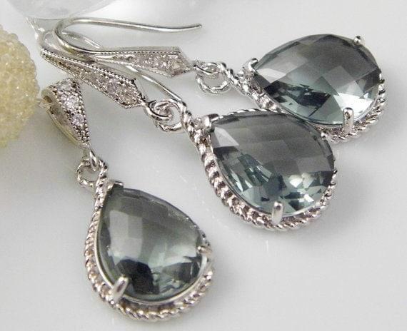 Grey Bridesmaid Jewelry   Grey Wedding Jewelry   Bridal Jewelry   Grey Bridesmaid Earrings   Grey Bridal Jewelry   Grey Jewelry   Bridesmaid