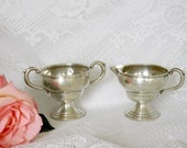 RESERVED LISTING - Vintage Lady Atkins Silver Weighted Cream and Sugar Set. Country or Barn Wedding Table Decor.