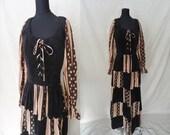 Corset Lace Up Patchwork Vintage 1970's BOHO Maxi Corduroy Hippie Dress XS S