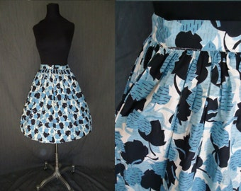 Novelty Blue & Black LEAF Print Vintage 1950's Rockabilly Full Skirt XXS XS