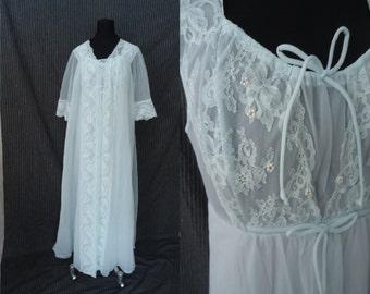 Baby Blue Nylon Vintage 1950's Negligee Set Peignoir Nightgown Robe M