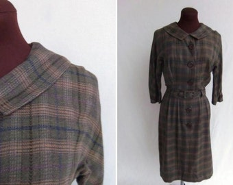 Vintage 50's Dress Olive Green and Tan Plaid Shirtwaist Size M / L