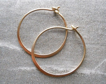 1 Inch 14K Solid Gold Hammered Endless Hoops (18 gauge) Matte Finished Large Sized Hoops