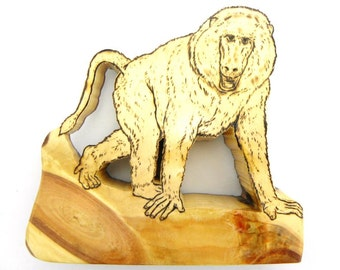 Baboon Art, Baboon Sculpture, Baboon Figurine, Primate, Monkey, Wooden Baboon, Wood Baboon, Woodcraft, African Animal, Jungle Animal