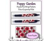 Bead Pattern Peyote(Pen Wrap/Cover)-Poppy Garden