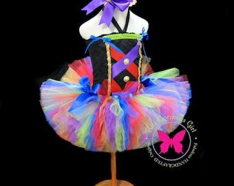Circus Carnival Bustle Tutu, Corset Inspired Top & Mini Top Hat...Mardi Gras Pageant Costume, Halloween Circus Costume . . . IT'S A CARNIVAL