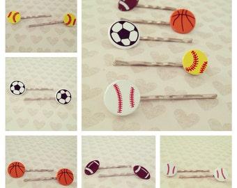 Sport Hair Clips: Volleyball + Basketball + Football + Soccer + Softball + You Choose + Set of 2 Hair Clips + Bobby Pins + Hair Bow