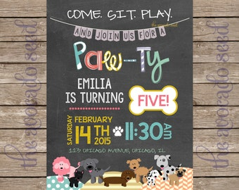 Adorable Doodle Modern Chalkboard Style Dog Party Paw-ty Pet Lover Invitation | Professional Prints or DIY Printing