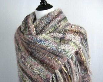 Hand Knit Shawl, Hand Dyed Yarns, Fringe, Multi Textures and Colors, Handmade, Oversize, Luxurious Wrap, Pastel Tones, Elegant Neutral Tones