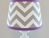 Small White Gray Chevron lamp shade with accent Violet