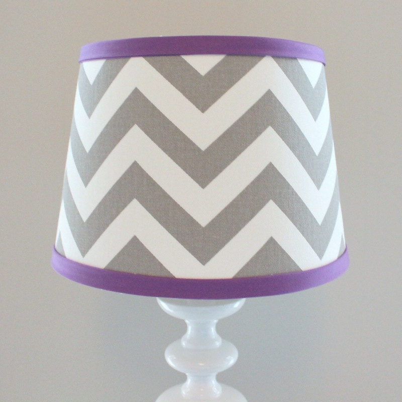 small white gray chevron lamp shade with accent violet. Black Bedroom Furniture Sets. Home Design Ideas