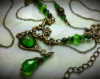 Lime Green Victorian Choker Frosted Peridot Crystal Dangle Drop Necklace Antique Brass Filigree Titanic Temptations Edwardian Bridal Jewelry