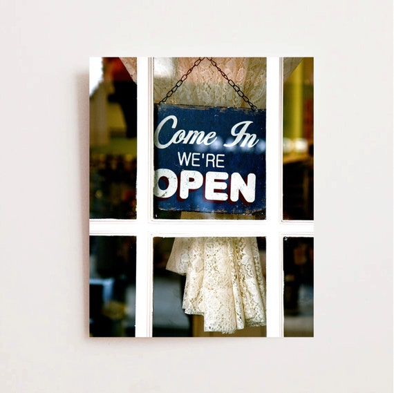 Magnolia Bakery Open Sign Photograph -  New York City Photography - White Navy Blue Print - NYC Decor  New York Photo Cupcake