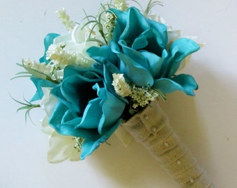 Turquoise and White Magnolia Bouquet, Teal Wedding Flowers, Teal Wedding Bouquet, Bridal Bouquiet, Bridesmaids Bouquet