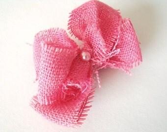 Pink Burlap Hair Clip - Farmhouse Rustic Inspired Bow