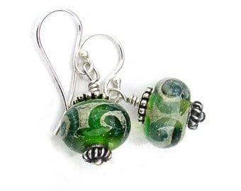 Lampwork Earrings Green and Gold Bead Sterling Silver