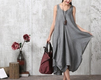 Casual Loose Fitting Short Sleeved Linen Blend Long Dress - Gray - Women Maxi dress LYQ 615