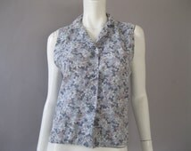 1950s Sleeveless Top - 50s Grey Floral Print Blouse - Vintage L