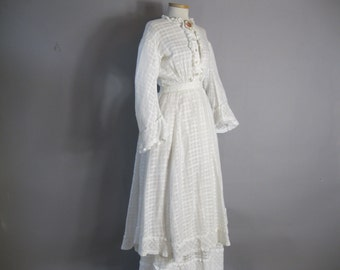 "Authentic Victorian Dress -  White Cotton Dress - Bust 36"" - Seaside Costume"