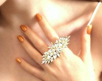 Statement Ring,Swarovski Cocktail Ring,Duel Ring,Bridal Swarovski Ring Gift for her,Big Crystal Ring,Statement Gold Ring,White Crystal Ring