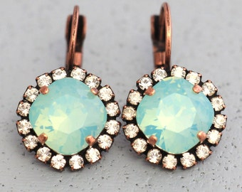 Mint Earrings, Mint Drop Earrings, Mint Opal Swarovski Earrings, Bridesmaids Earrings,Gift For Her, Bridal Mint Earrings, Bridal Earrings