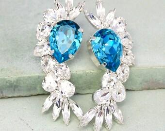 Aquamarine crystal Statement Earrings,Swarovski Chandelier earrings,Sky Blue White Bridal Earrings,Crystal Chandelier Earrings,Big Earrings