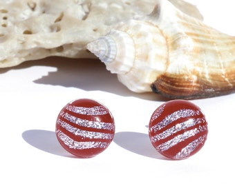 """Small Dichroic Glass Stud Earrings, Fused Glass Jewelry, Sterling Silver Posts - Rich Colors, Deep Red, > 3/8"""" or 10.2mm (Item #30893-E)"""