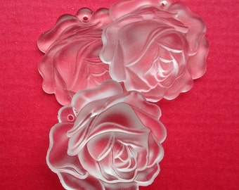 BWB So Romantic and Sweet Vintage Glass Frosted Cabbage Rose Pendant (1) Western Germany 35mm