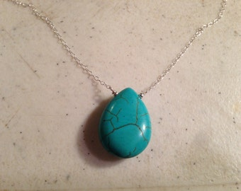 Turquoise Necklace - Sterling Silver Jewelry - Pendant Jewellery - Chain - Southwestern
