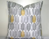 Gray and White Pillow, 18 x 18 Inch Cotton Pillow, Braemore Decorative Cushion Cover