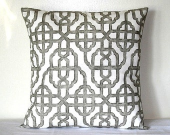 Gray and White Moroccan Trellis LUMBAR 12x18 Inch Decorative Pillow Cushion Cover