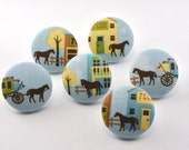 Horse / Thumbtack/ Magnet / Old West  /  Push Pin  Fabric Covered Button Cowboy / Sewing Buttons / Office Decor / Message Board / Ranch 116