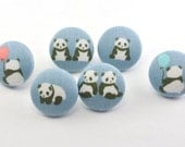 Panda Bear Thumbtacks / Magnet / Push Pin Fabric Buttons Craft Buttons /  Blue White Black / Shank Button /  Tiny / Kawaii Buttons / Office