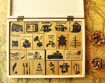 Wooden Rubber Stamp Box Vintage Stamps